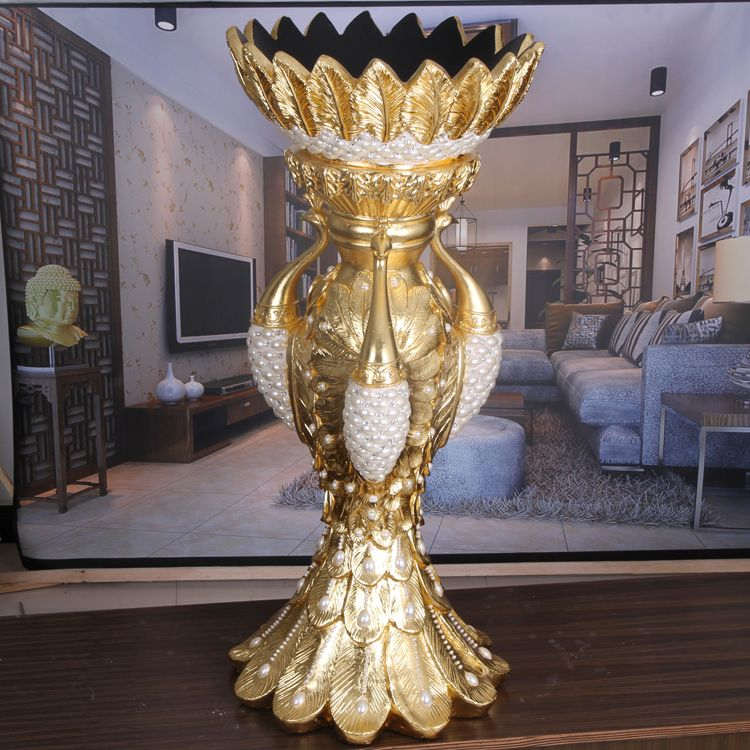 2014 beautiful peacock vases with pearls for home or hotel decoration
