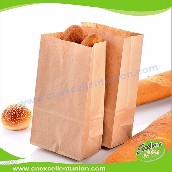 Custom made take away fast food kraft paper bag bread bag disposable bag