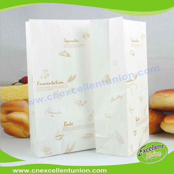 Custom printed white color take away fast food kraft paper bag bread bag disposable bag
