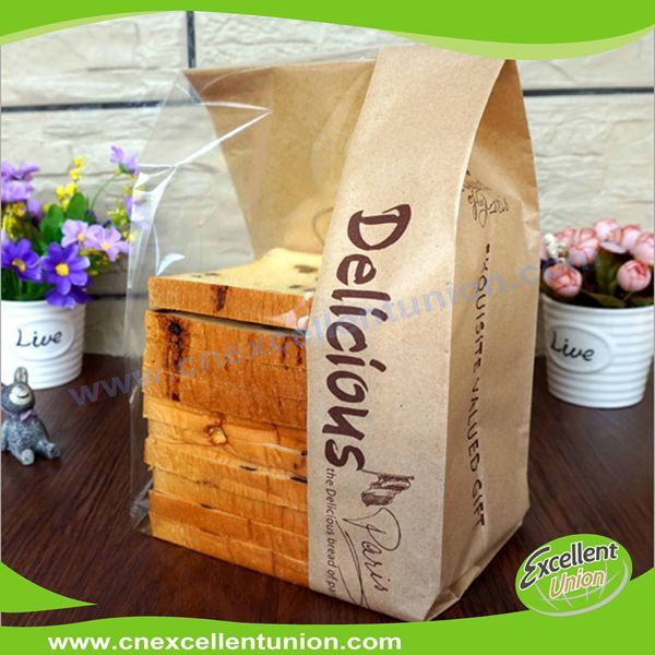 Custom printed Toast bag bread paper kraft bags with side window