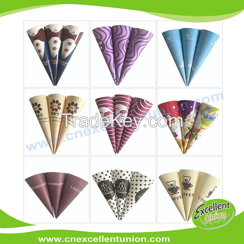 Custom printed paper rolled ice cream cone/cone paper/ice cream art paper/cone sleeve