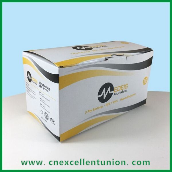 Disposable Protective Face Mask Surgical Mask Box KN95 mask box 50pcs Size Customized Box