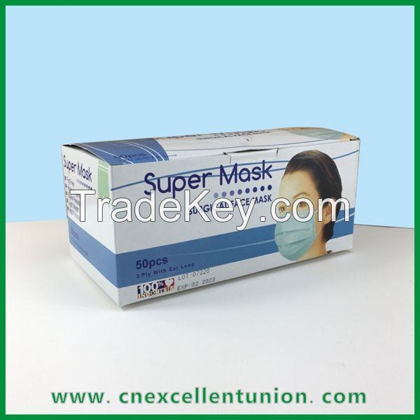 Face Mask Surgical Mask Box KN95 mask box 50pcs Size Customized Box