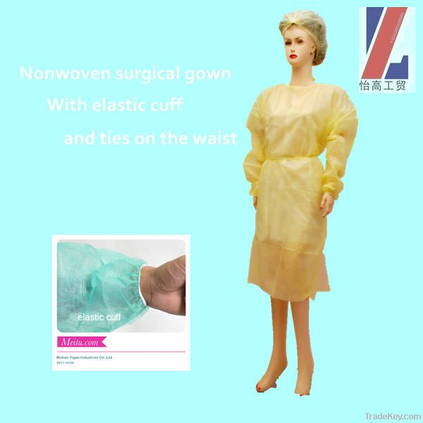 Disposable surgical gown with plastic coating