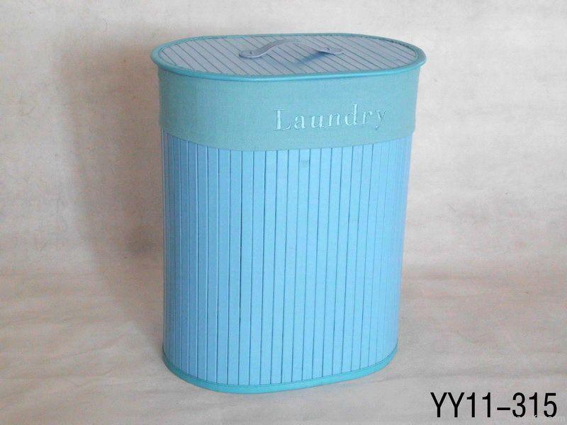 Foldable oval bamboo laundry basket
