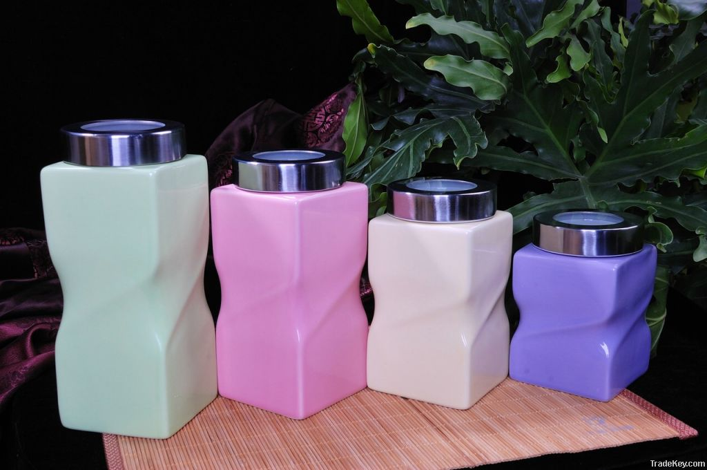Ceramic Canister, Porcelain Canister, Ceramic Pot