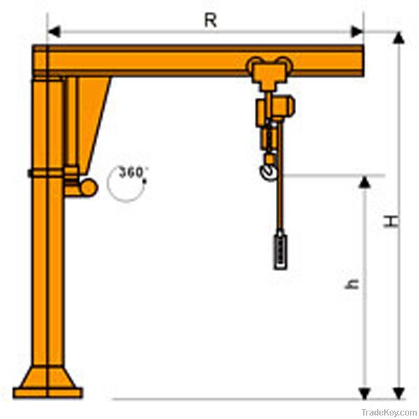 Swing Arm Hoist Mount : Column mounted swing jib crane heavy duty workshop