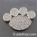 Fashion 925 sterling silver brooch with cz