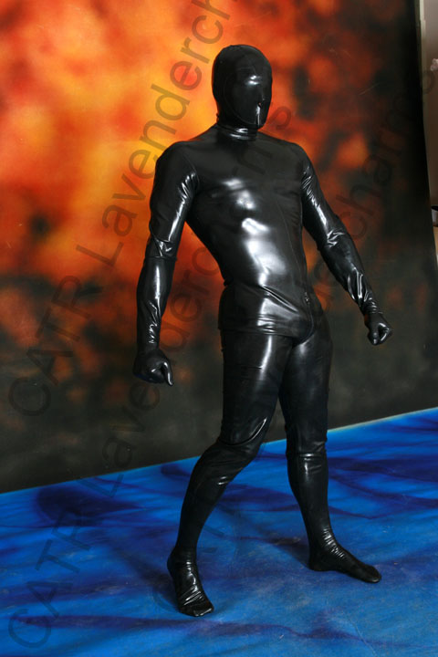 CATR Full Coverage latex rubber catsuit back 3 way zipper