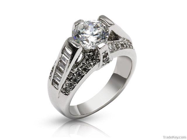 Silver Precious Stone Ring