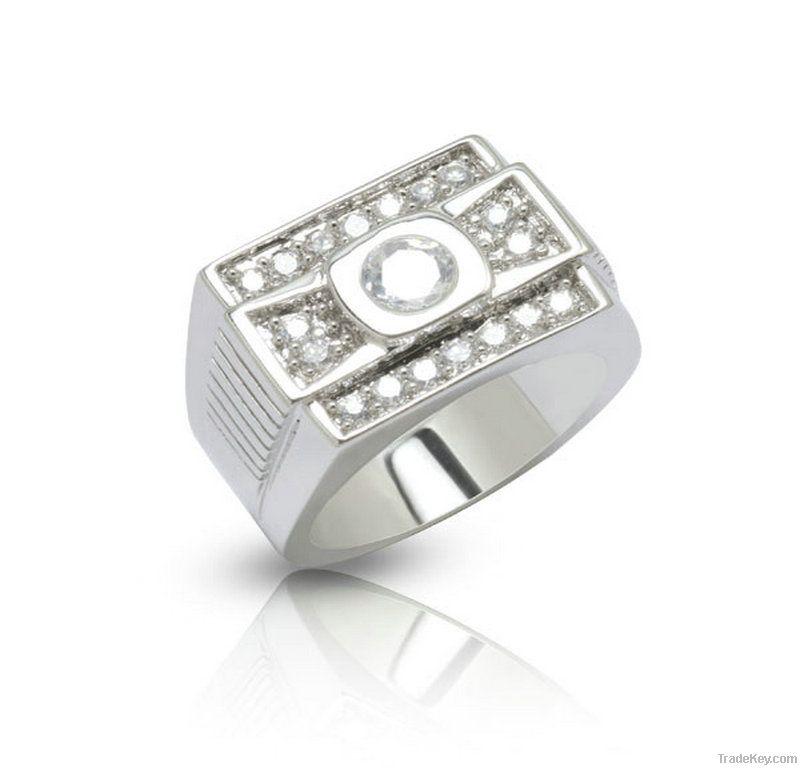 Custom silver zircon ring