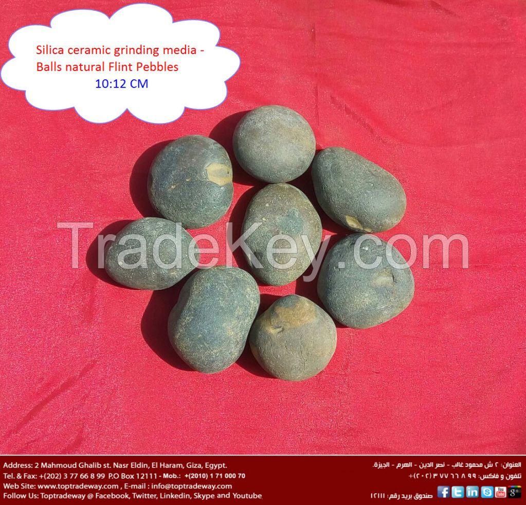 Ceramic ball mill grinding media silica pebbles / Flint Pebbles