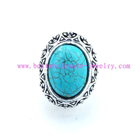 tribal design turquoise alloy ring