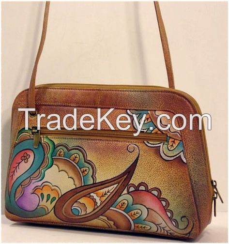 Hand Painted Leather All Round Zip Shoulder Bag