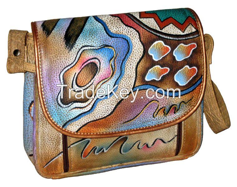 Hand Painted Leather Organizer Handbag Shoulder Bag