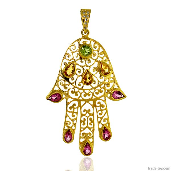 14k Gold, Pendant with stones Peridot, Citrin and Pink tourmaline