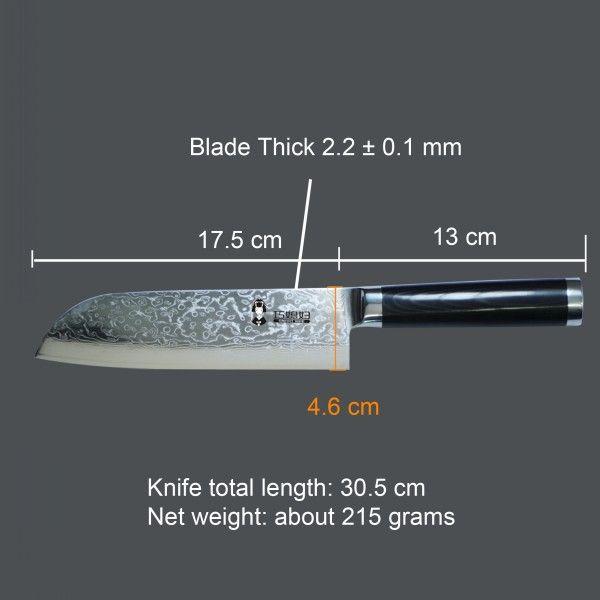 Great quality and new fashion micarta handle Damascus santoku knife