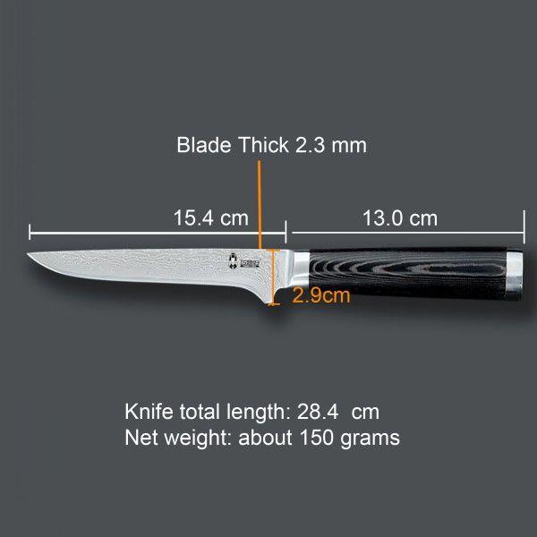 440C steel damascus boning knife with micarta handle