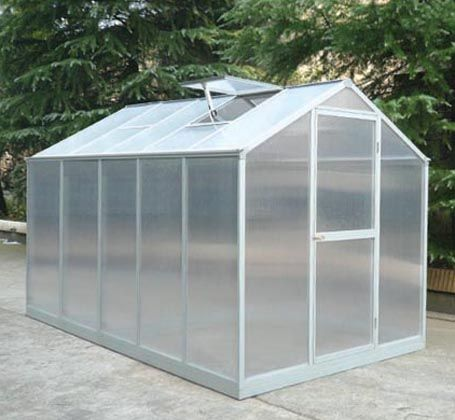 6x8 Ft Aluminum Greenhouse Kit in Polycarbonate Plastic (RB0808)