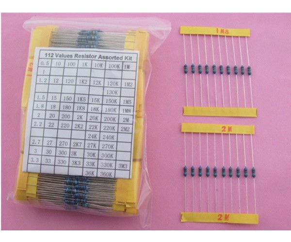 112ValuesX10pcs, 1/4W Metal Film Resistor Assorted Kit