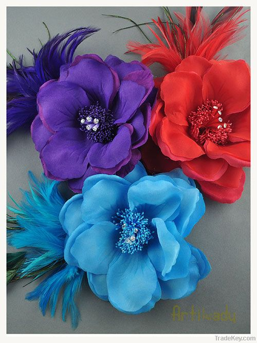 Hair accessories hair ornaments with hat and feather 3 colors