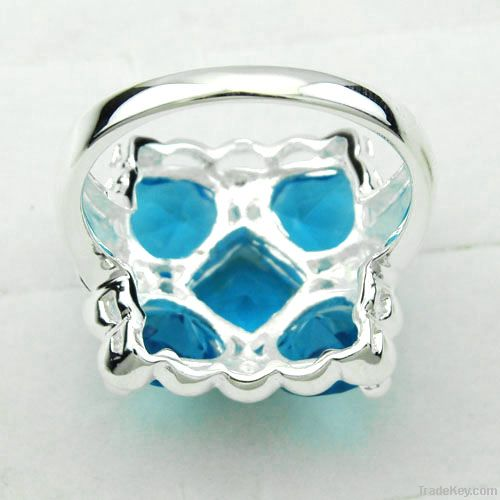 2012 fashion jewelry 925 silver flower blue topaz promise rings