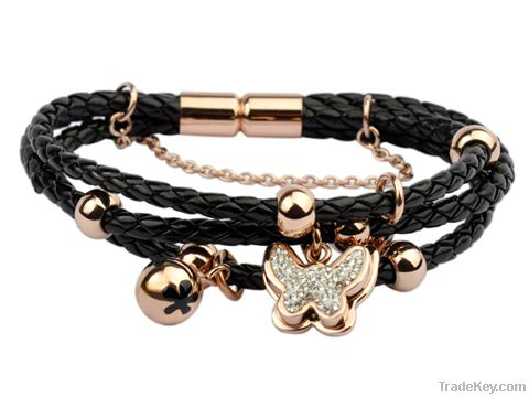 Trendy rose gold plated wrap leather bracelet
