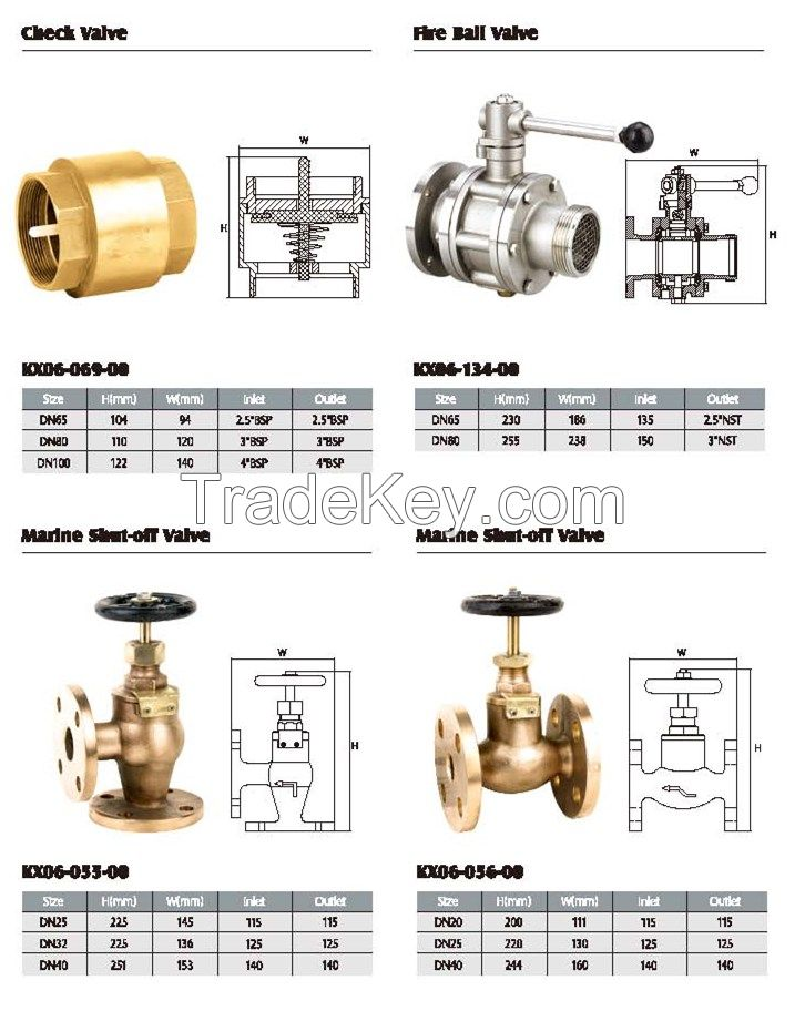 check valve, fire ball valve and marine short off valve