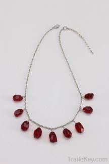 fashion red glass stone necklace jewelry  for women