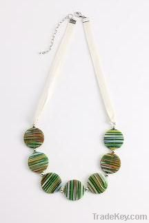 2011 fashion multi-color stripy disc glass necklace jewelry withribbon