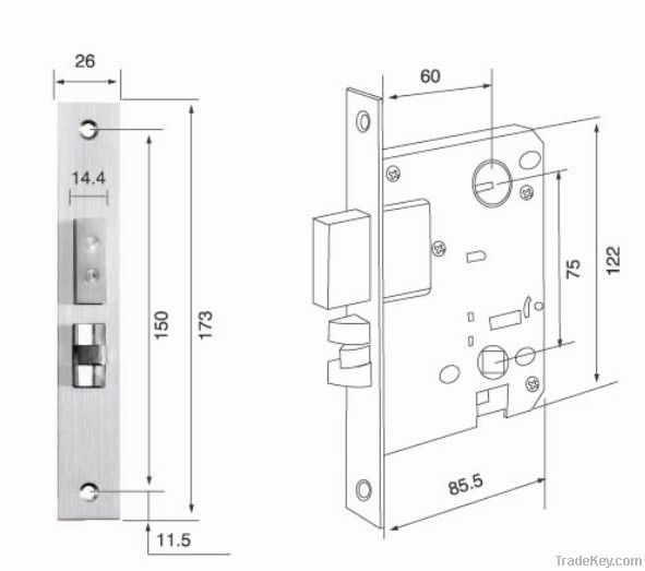 Hight quanlity  zinc alloy mortise lock