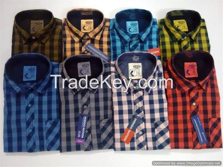 Mens Shirts Cotton Stripe Check and Solid Shirts Branded