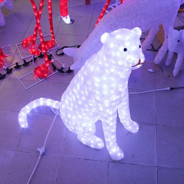 Handmadeled leopard 3D sculpture light theme park decoration
