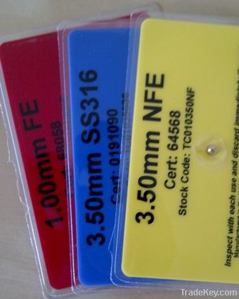 Metal detector test cards