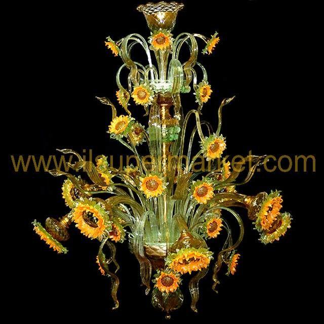 Murano chandelier Sunflowers Van Gogh 8 lights