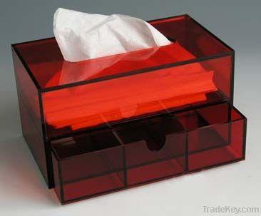 Acrylic Tissue box, useful desk napkin box