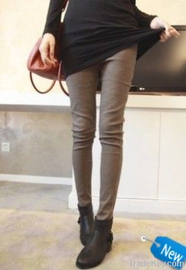 Korean Style Check Slim Pants Khaki
