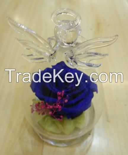 Angel glass cover preserved flower gift box