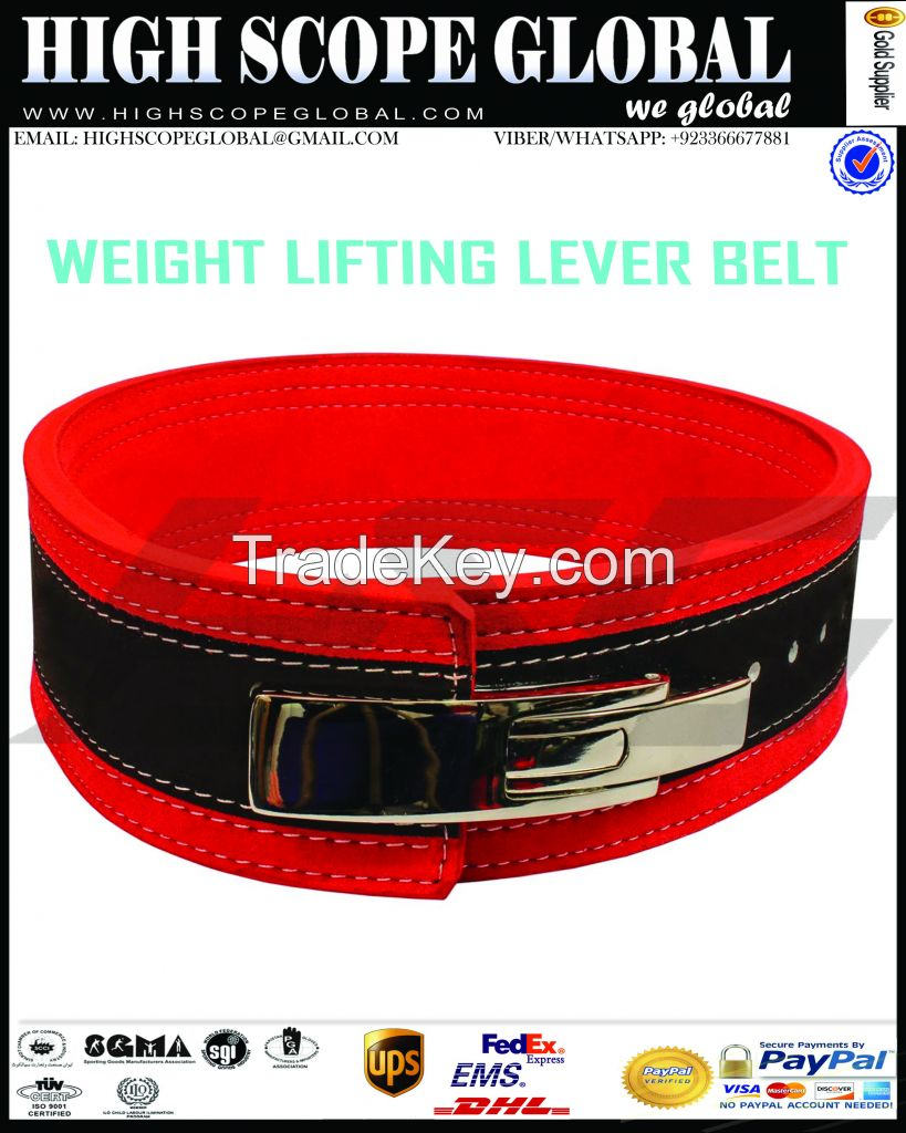 Hot seller 2017 Lever Buckle / Power lifting Belt 13mm For Heavy Weight Lifting Lever buckle Genuine leather Power Training