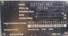 KOMATSU D275AX-5E0 YEAR 2010 HOURS 8200