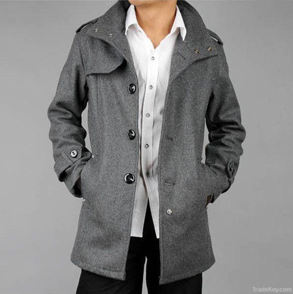 2011 New Mens Woolen Gray Grey / Black Trench Pea Coat Winter