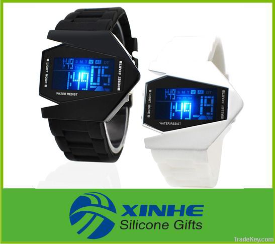 2015 silicone Airplane LED watches men with changing colorful lights
