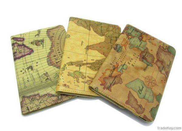 World map PU leather case for ipad mini stand cover with high quality