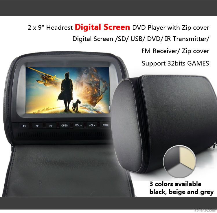 9 inch headrest DVD player with zipper +32 bits game VH92