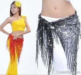 2012 new coins belly dance hip scarf