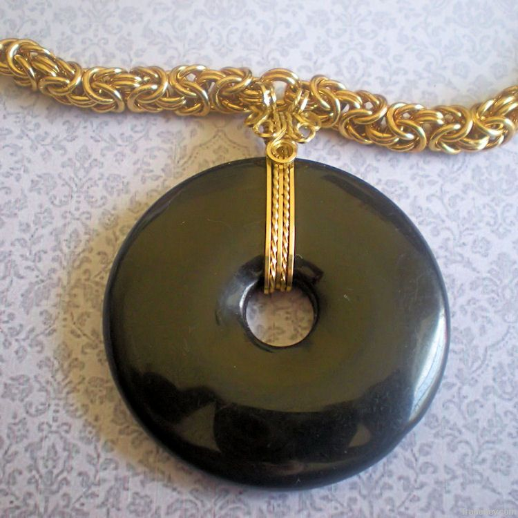 Black Beauty Solid Brass Byzantine Chainmaille Weave Necklace