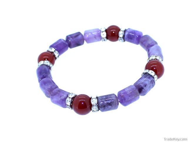 Amethyst carnelian lucky charm bracelet
