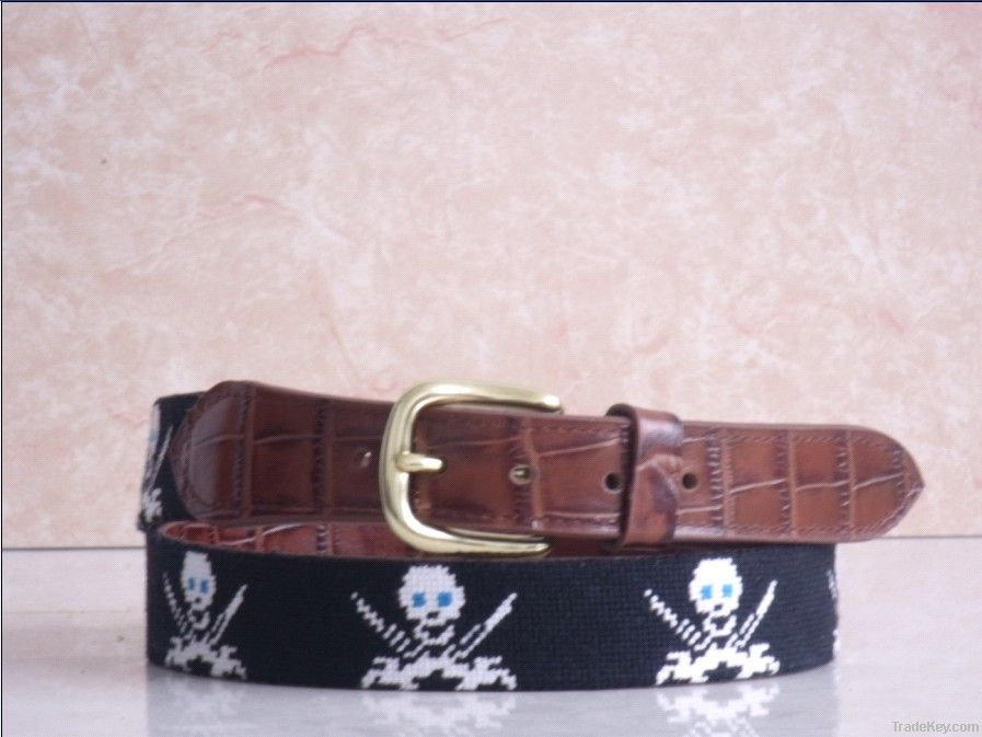 Handstitched Needlepoint belts made of alligator leather