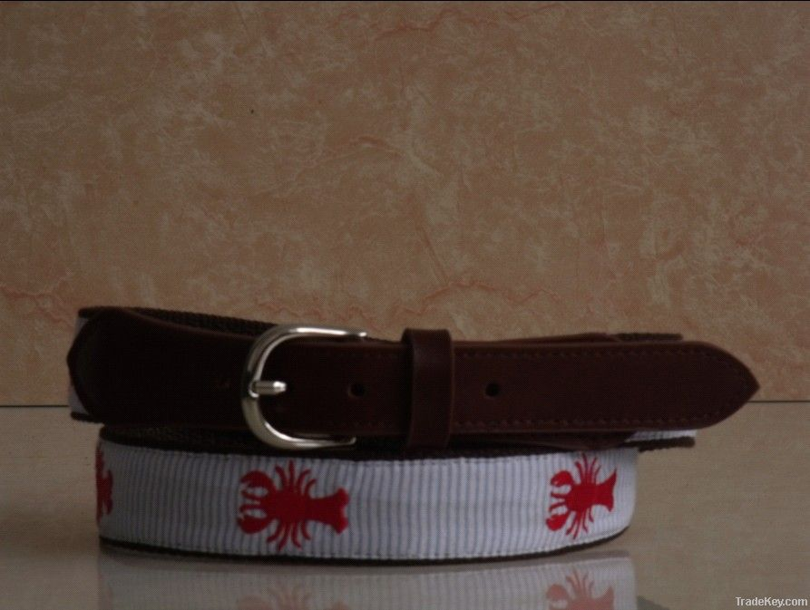 Ribbon Belts with Genuine Leather Tabs and Solid Brass Buckle