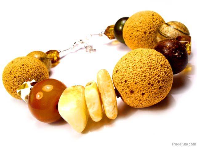 Silver amber bracelets